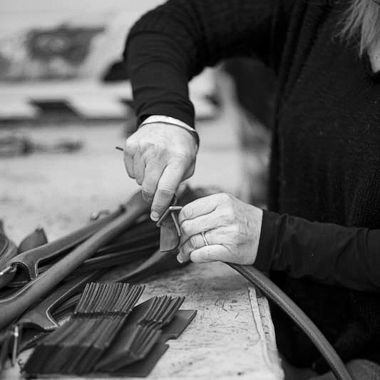 Materials being prepared. The Original Peter manufacturing process in action, showing one of our Original Peter Record Hunting Bags being hand made by Brady Bags in Walsall, England to the highest specification with the highest quality materials.