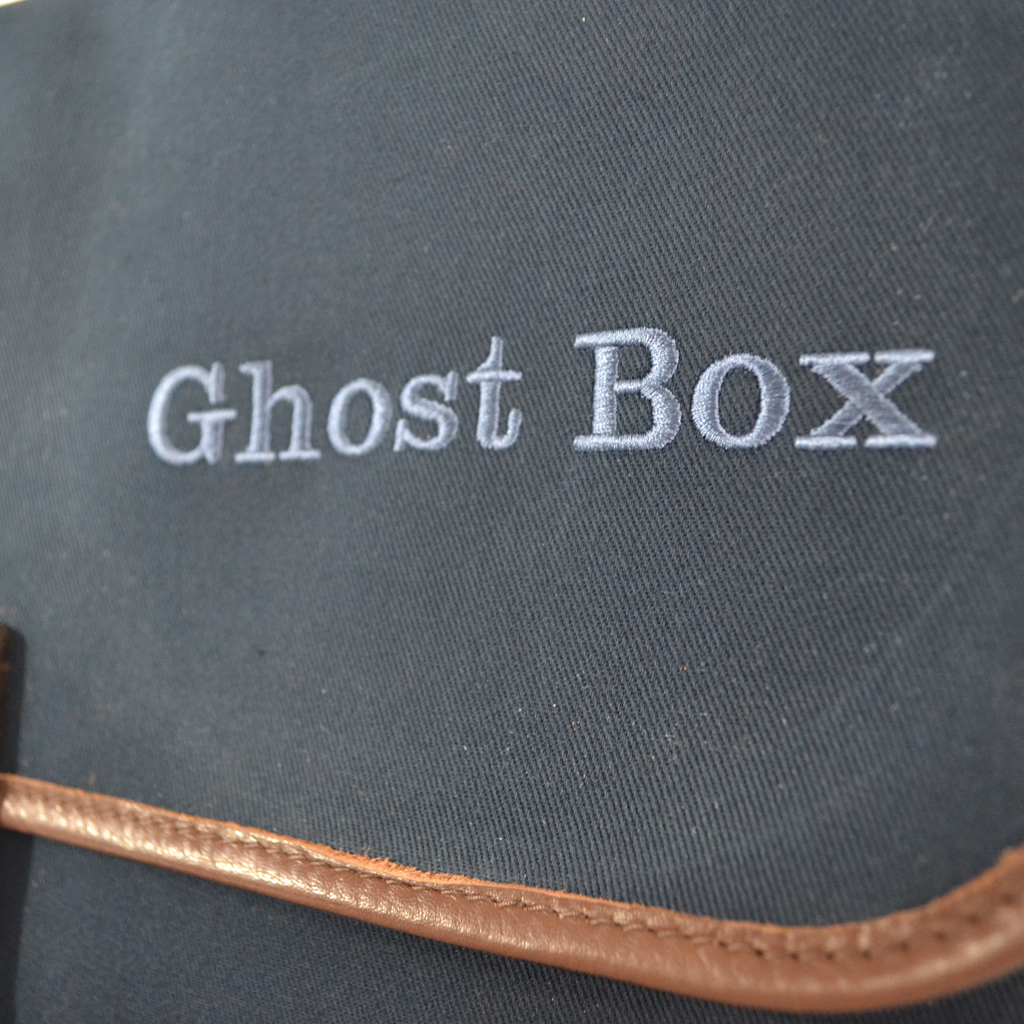 Original Peter Limited Edition Ghost Box Classic LP record hunting bag (Navy), logo view.