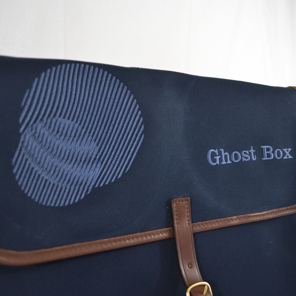 Original Peter Limited Edition Ghost Box Classic LP record hunting bag (Navy), Moire pattern view.